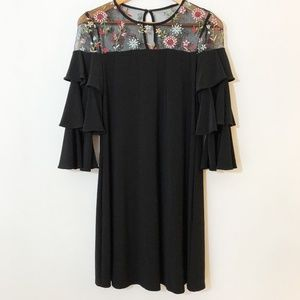 GABBY SKYE floral mesh and ruffle sleeve dress